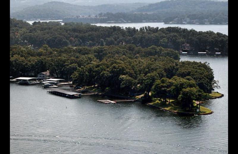 Aerial view of Mallard Point Resort.