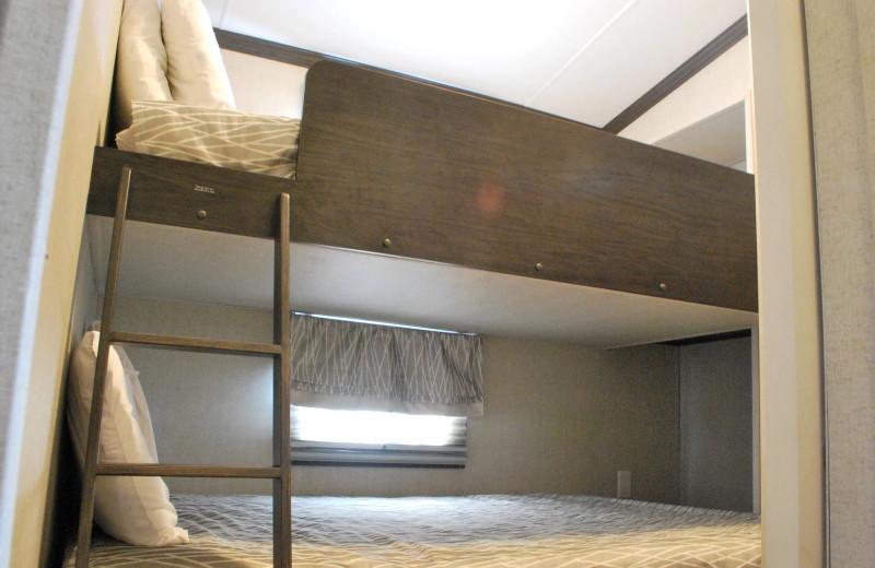 Cottage bedroom at Golden Beach Resort.