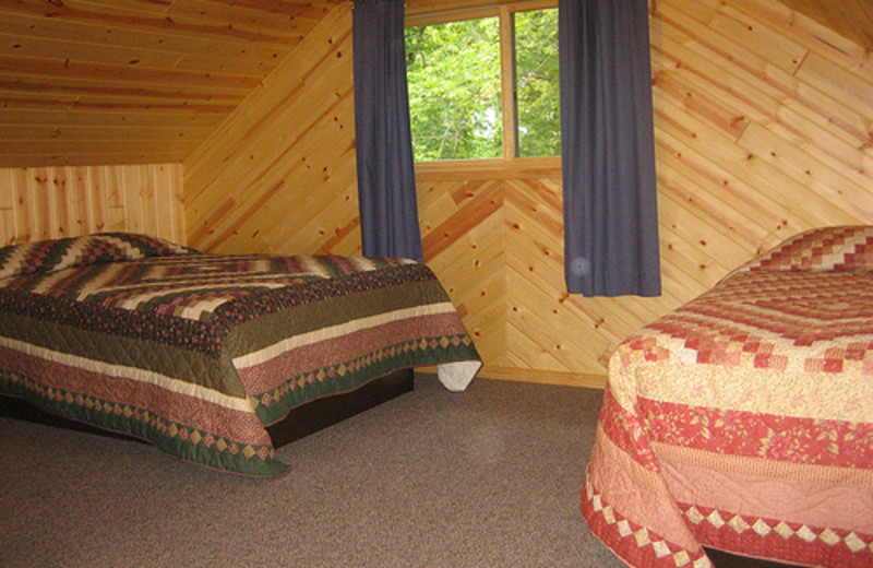 Cabin bedroom at Lakecrest Resort.