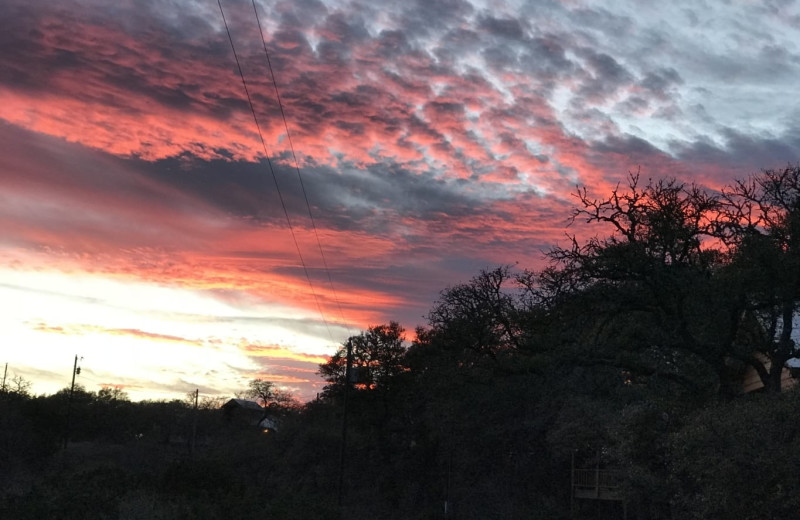 Sunset at Walnut Canyon Cabins.
