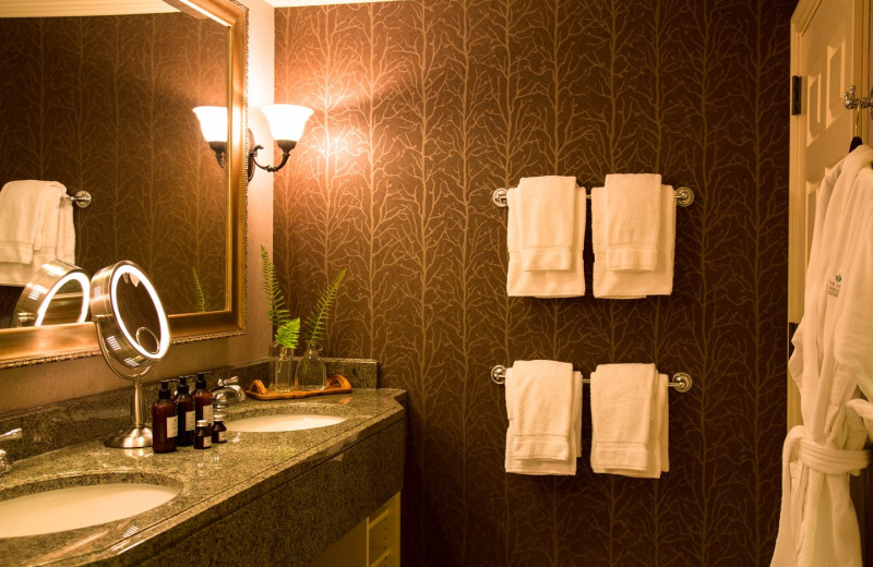 Guest bathroom at The Lodge at Woodloch.