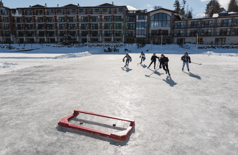 Ice hockey at Golden Arrow Lakeside Resort.