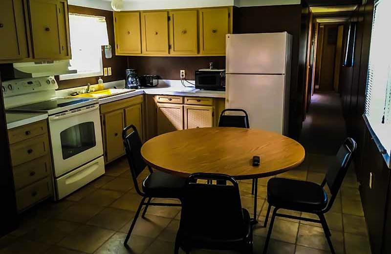 Cabin kitchen at River Bend's Resort & Walleye Inn.