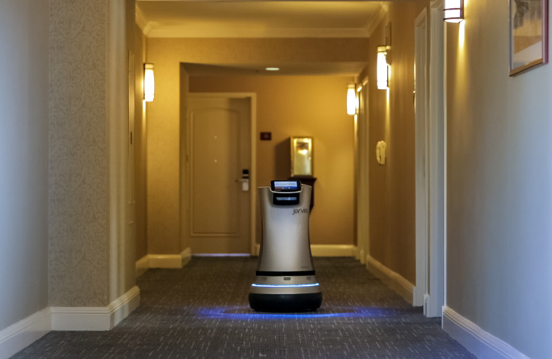 Service robot at The Grand Hotel.