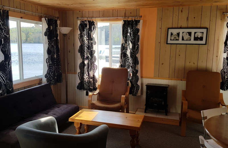 Cottage living room at Parkway Cottage Resort & Trading Post.