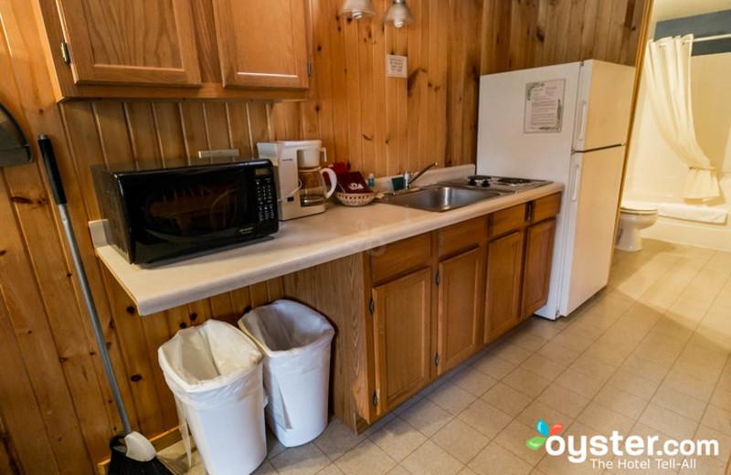 Cabin kitchen at Birchcliff Resort.