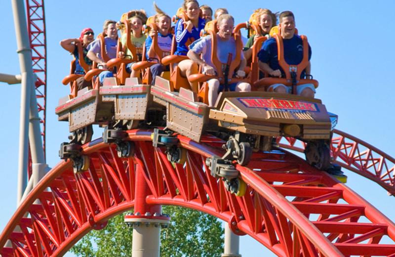 Roller coasters at Cedar Point Resort.