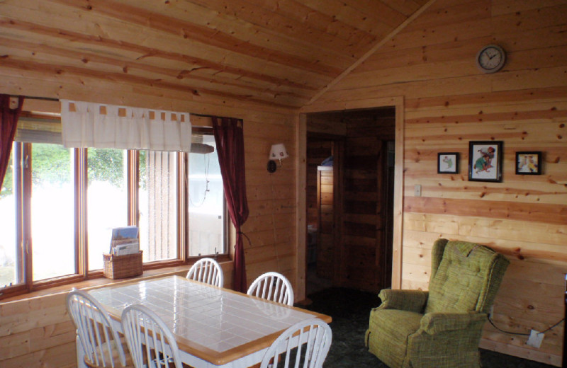 Cabin dining area at Westwind Resort.