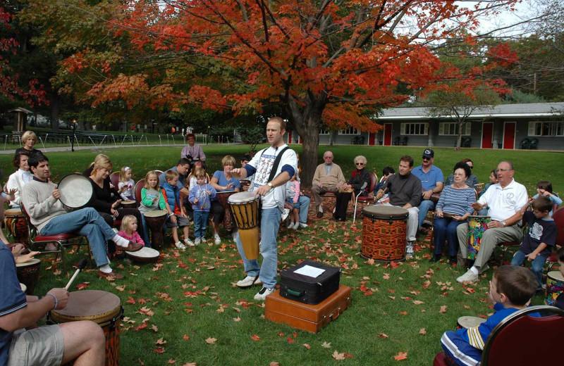 Drum circle at Woodloch Resort.