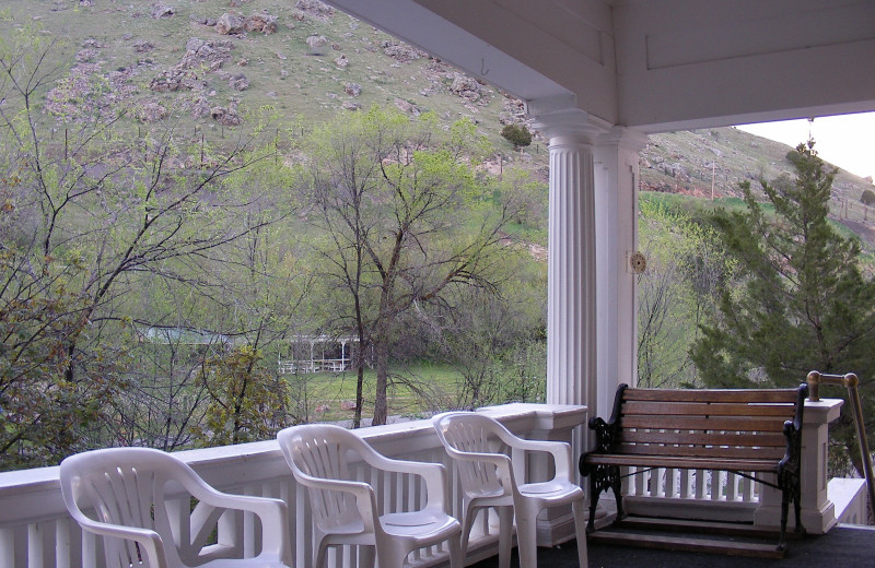 Porch at Riverside Hot Springs Inn & Spa.