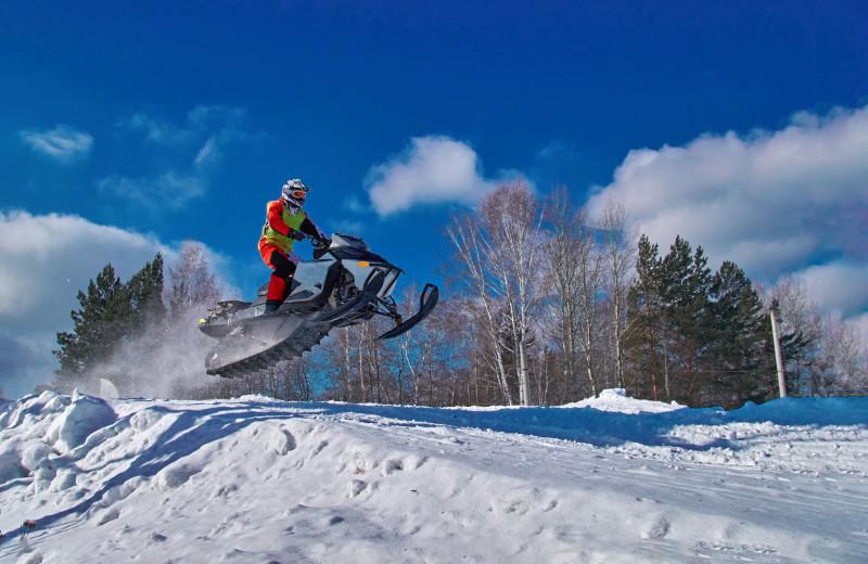 Snowmobiling at Lakewoods Resort.