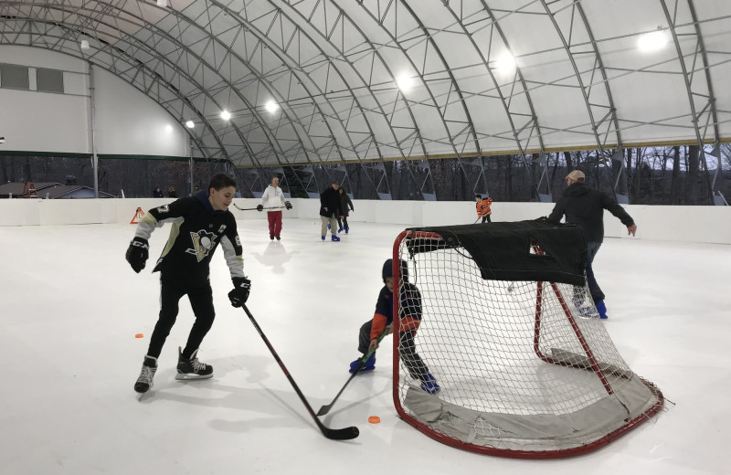 Ice skating rink at Woodloch Resort.