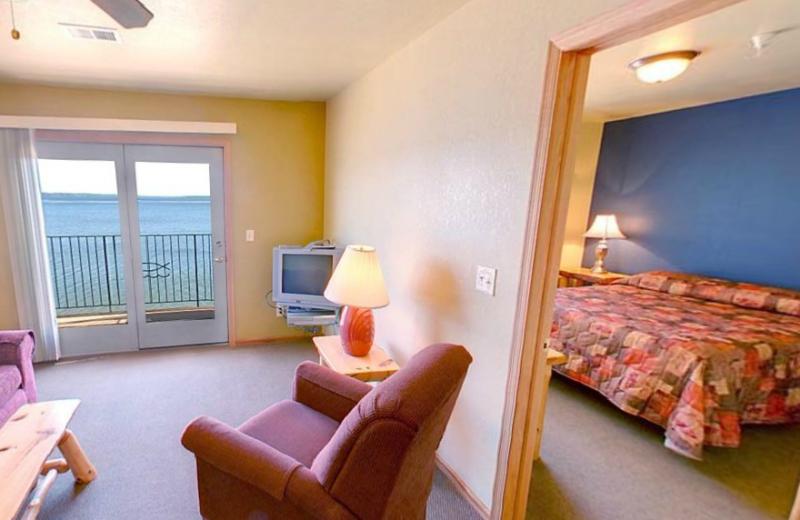 Guest room at Hiawatha Beach Resort.