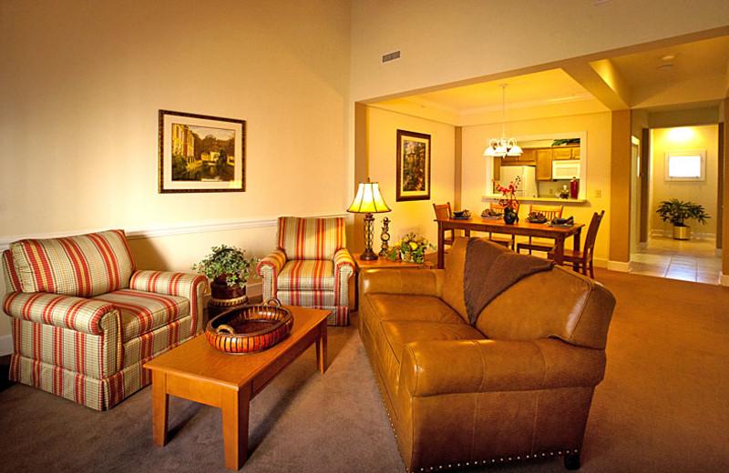 Cottage living room at King's Creek Plantation.