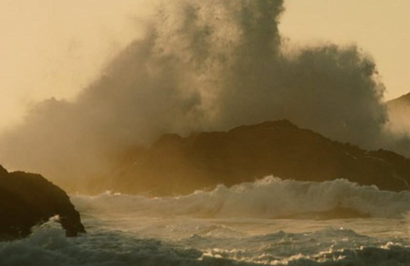 Crashing waves at Driftwood Shores Resort.