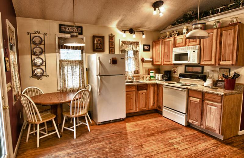 Cabin kitchen at Hidden Creek Cabins.