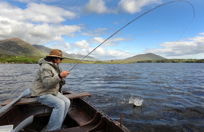 Fishing at Lough Inagh Lodge.