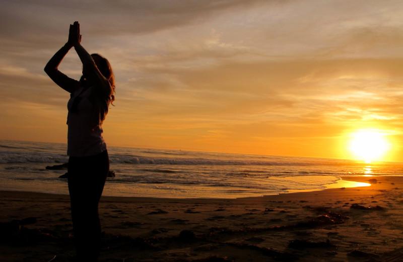 Beach yoga at Blue Pearl Laguna.