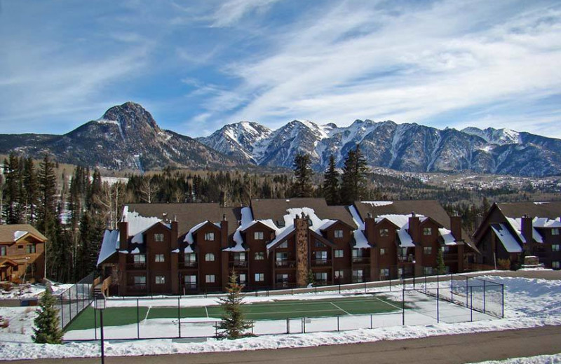 Winter exterior at Cascade Village Condominiums.