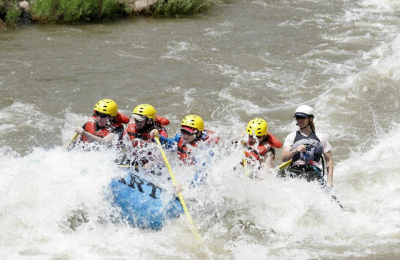 River rafting near Bristlecone Lodge.