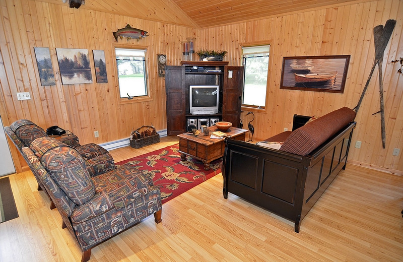 Cabin living room at North Country Vacation Rentals.
