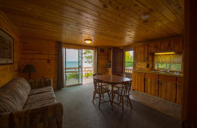 Cabin interior at Snyder's Idlewild Resort.