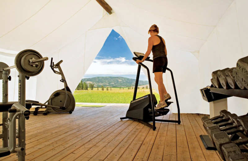 Fitness room at The Resort at Paws Up.