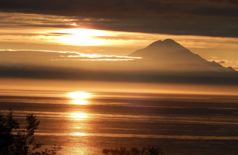 Sunset at Gwin's Lodge & Kenai Peninsula Charter Booking Service.