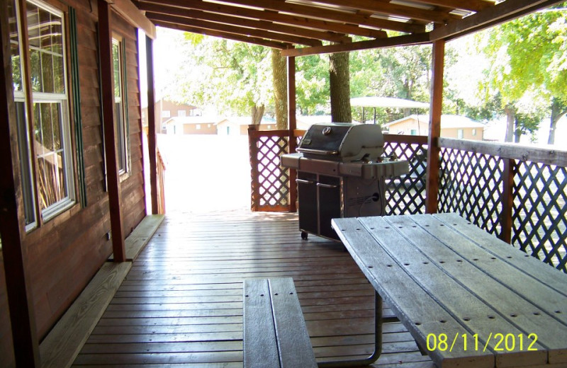 Cabin porch at Prizer Point Marina & Resort.