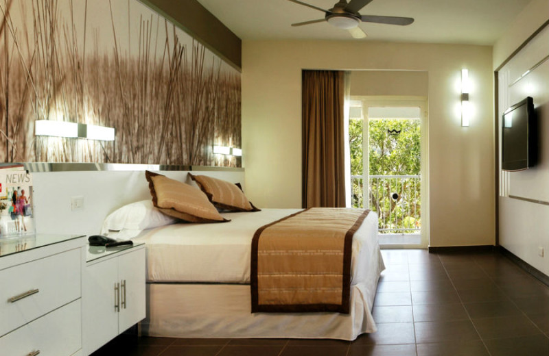 Guest room at Hotel Riu Yucatan.