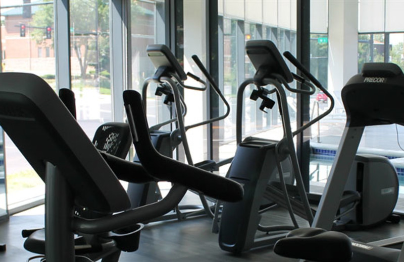 Fitness center at Kent State University Hotel.