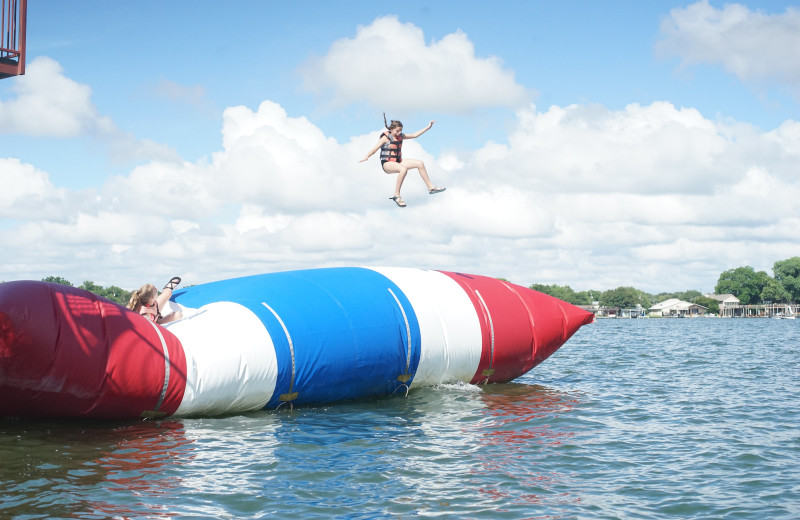 Water trampoline at Camp Champions on Lake LBJ.