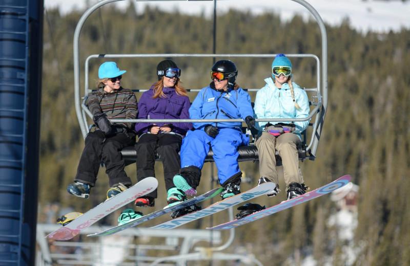 Riding the ski lift at Sugar Bowl Resort.