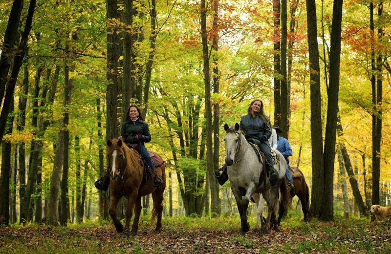 Horseback riding at Crescent Lodge.