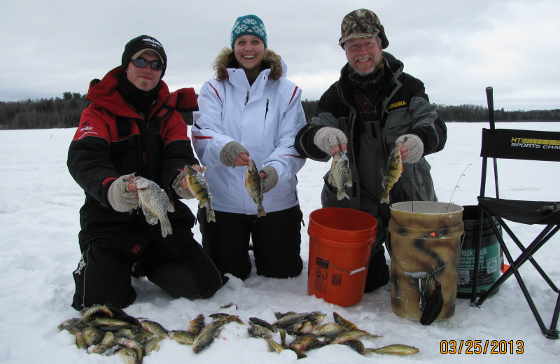 Ice fishing at White Birch Village Resort.