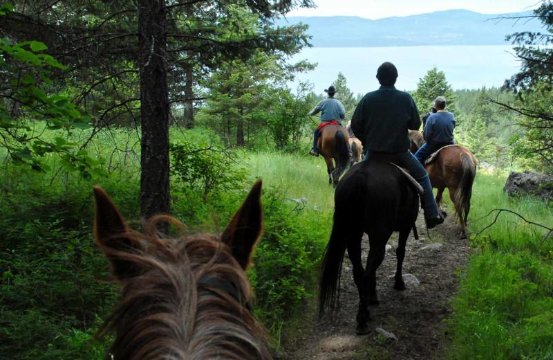 Horseback riding at Averill's Flathead Lake Lodge.