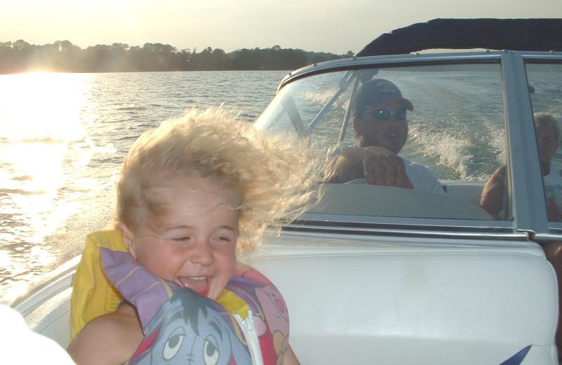 Boating at Sunset Bay Resort.