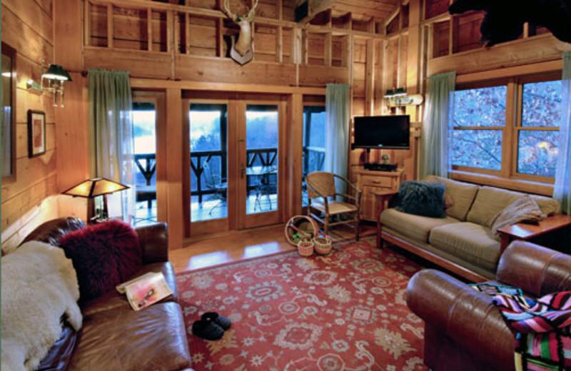 Cottage living room at Winterwood Lakeside Cottage.