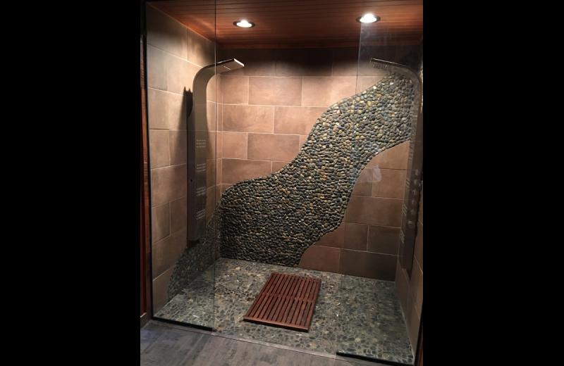 Cabin sauna at Chateau Lake Logan.