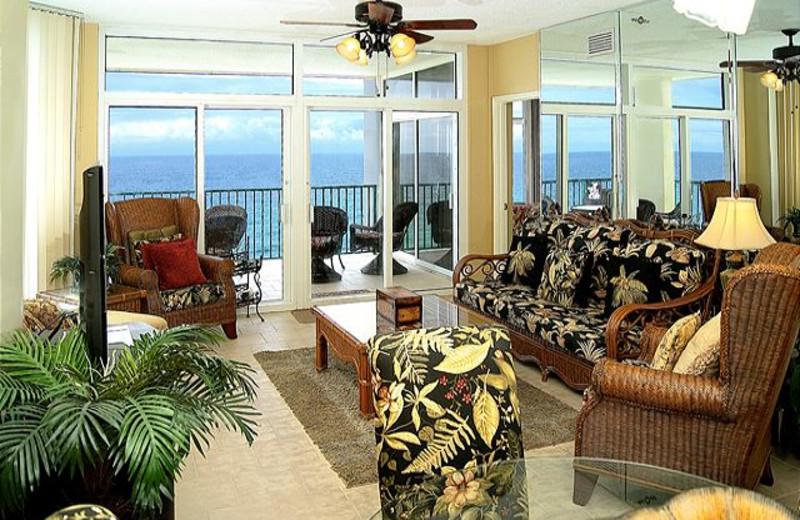 Rental living room at Best Beach Getaways.