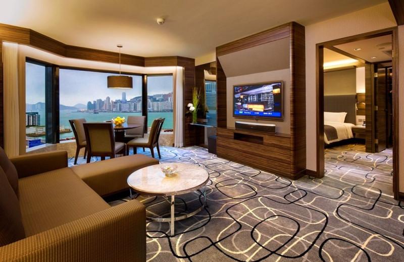 Guest room at New World Millennium Hong Kong Hotel.