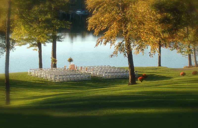 Wedding ceremony by the lake at Woodloch Resort.