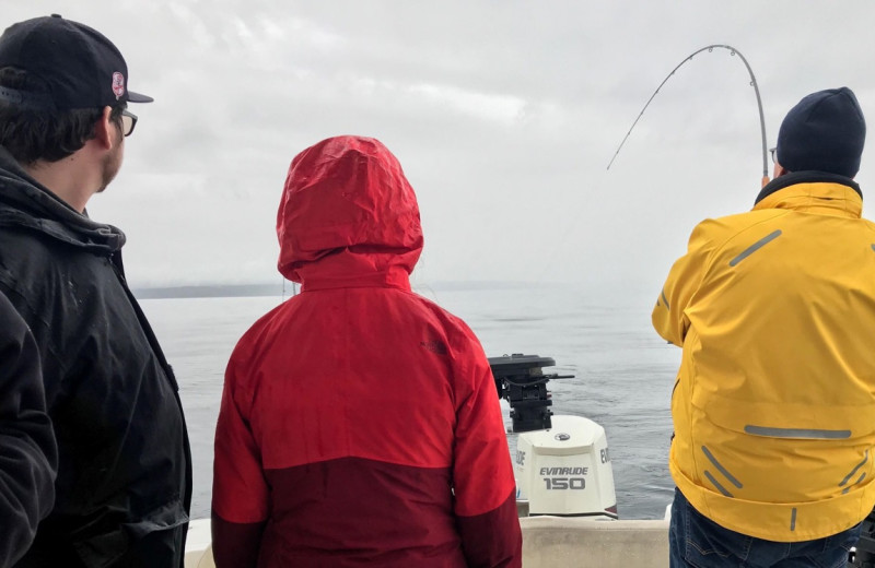 Fishing at SookePoint Ocean Cottage Resort.