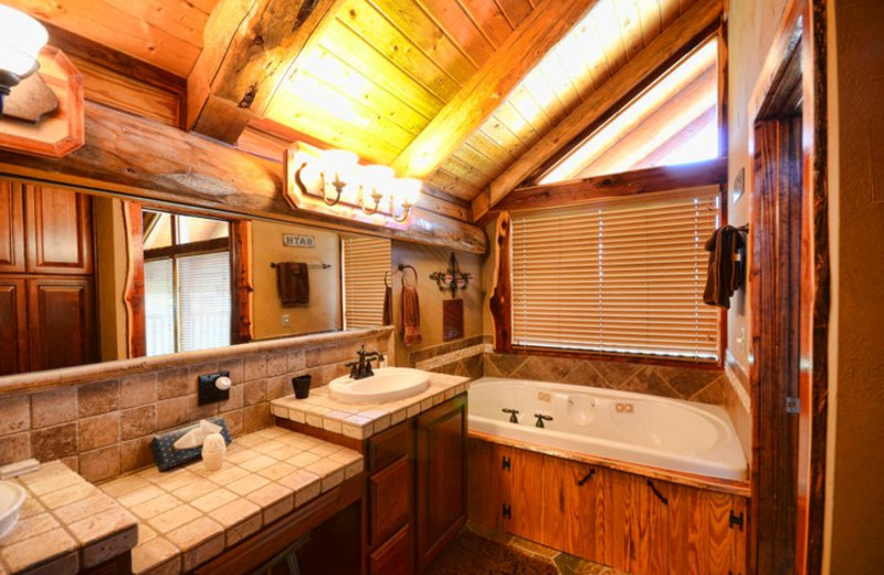 Guest bathroom at Log Country Cove.