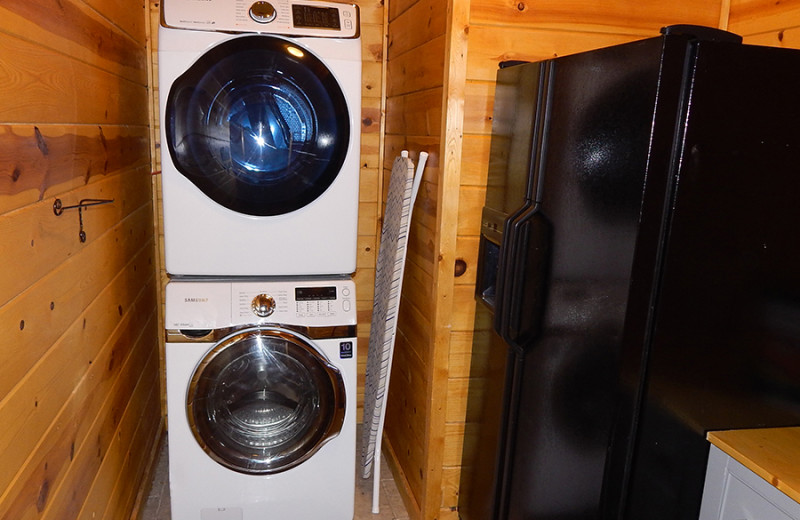 Cabin laundry room at Cut Above Cabins.
