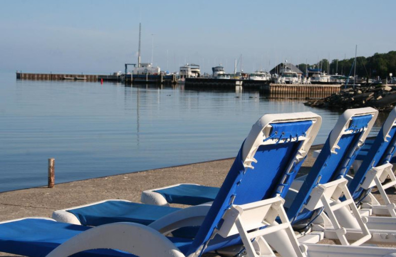 The beach at Ephraim Shores Resort and Restaurant.