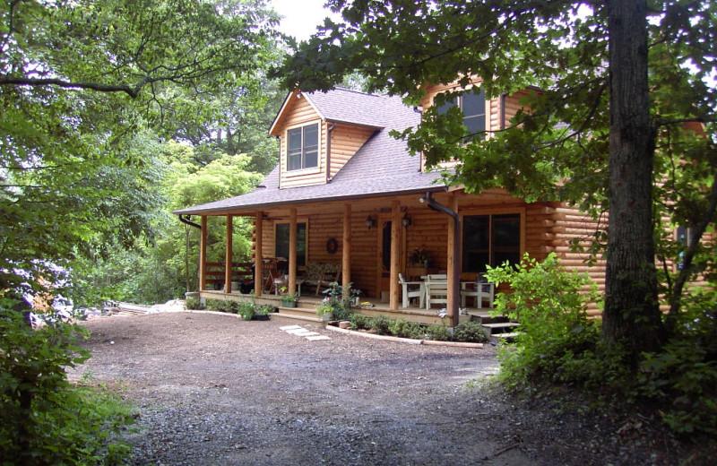 Cabin exterior at Greybeard Rentals.