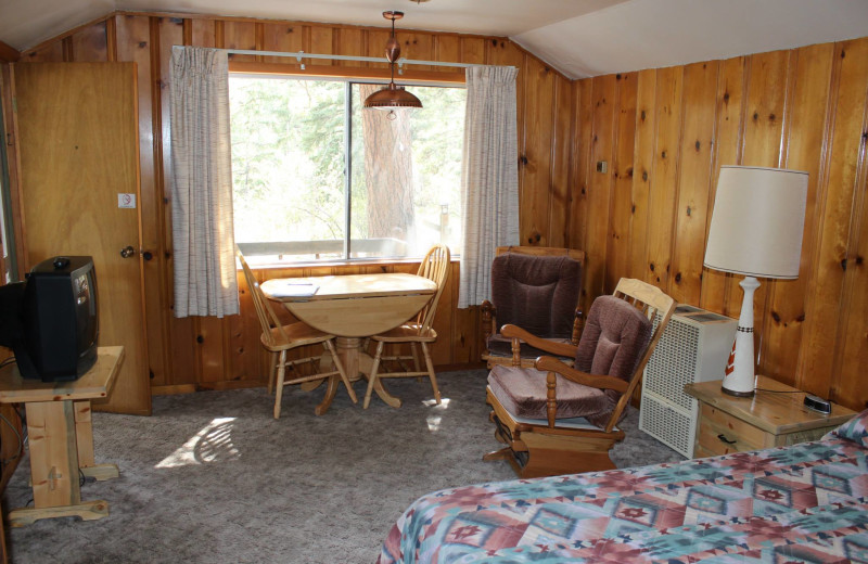 Cabin interior at Workshire Lodge.