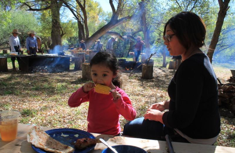 Family dining at Circle Z Ranch.
