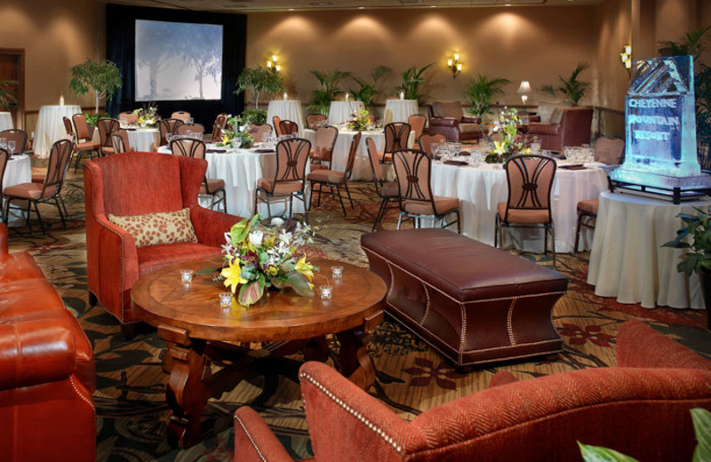 Ballroom set up for a conference reception at Cheyenne Mountain Resort.